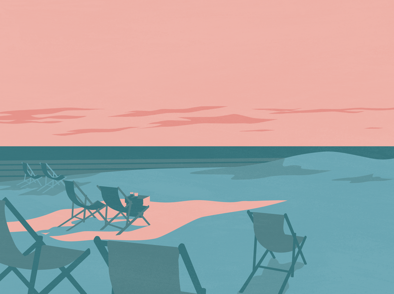 The last of the sun parnu estonia vector sunset sun beach illustrator design illustration