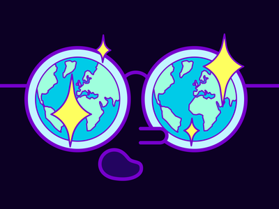 oh wow wow stars purple illustration glasses earth