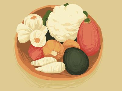 Veggies fall autumn vegetables adobe fresco design illustration