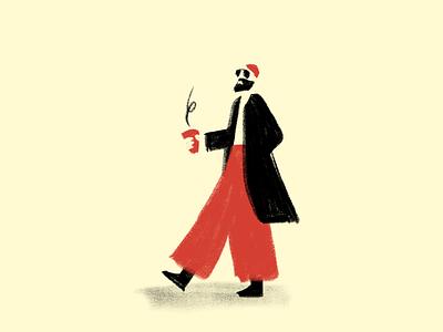 Street style street style streetwear coffee trousers red fashion street walking man illustrator illustration