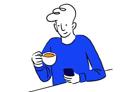 Break design block colour lines minimal phone man cup procreateapp coffee procreate illustration