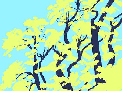Trees digital painting trees bird texture illustration