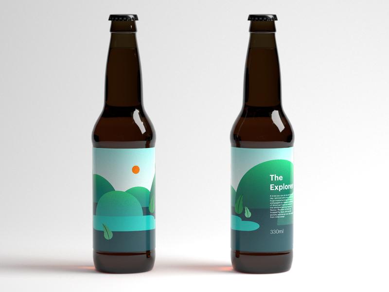 The Explorer mockup label design beer label vector design illustration
