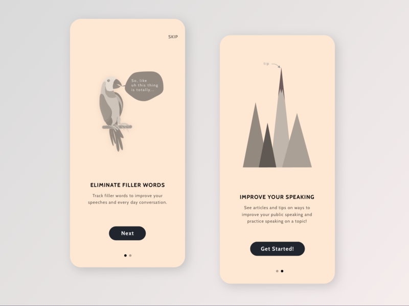 Speaking App Onboarding Screens ios android mountains parrot onboarding illustration ui design mobile app