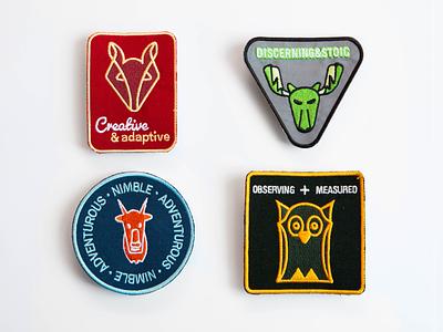 Spirit Animal Patches branding design graphic design animals spirt patches patch goat owl moose fox illustration
