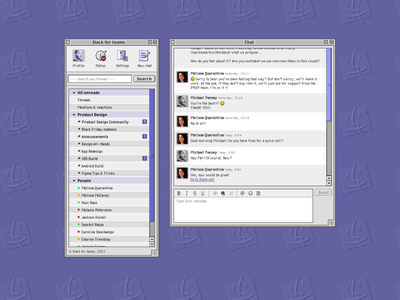 Slack (Mac OS 9) slack apple macos9 macinstosh uxdesign uidesign ux ui ux design ui design vintage 90s