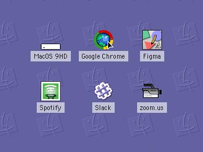 (mac)OStalgia Icons google chrome zoom slack figmadesign figma spotify icons retrotech vintage retro macintosh mac os 9 macos9 macos mac os ux design ux ui design ui