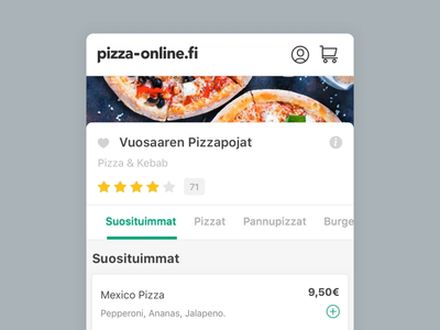 Pizza-Online - Mobile Restaurant Menu interaction design animation pizza-online.fi pizza-online suomi finnish finland food ordering food app ordering food menu interaction animation mobile website mobile web interaction