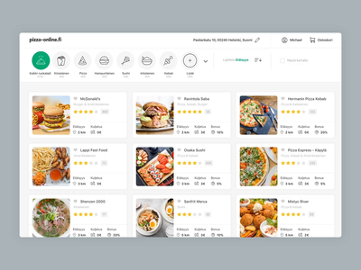 Pizza-Online - Cuisine Filters delivery hero pizza-online.fi pizza-online suomi finnish finland food ordering ordering food app food animation interaction interaction design desktop filters