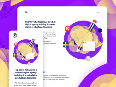 Kollegorna.se portfolio agency illustration ui one-pager website