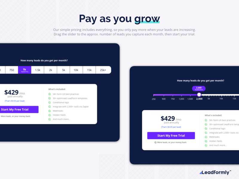 Pricing page concepts pricing table pay slider pricing page pricing ux form design flat illustration web ui