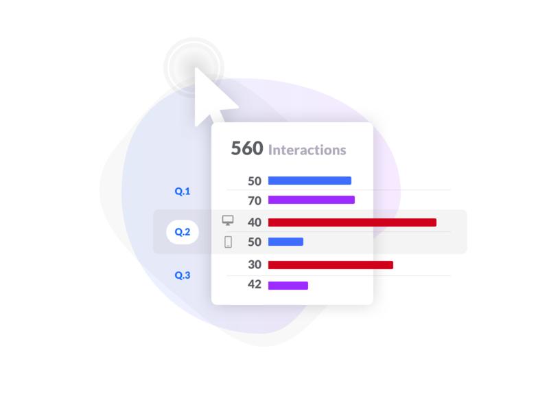 Interactions stats illustration graph line process form vector icons design flat illustration web ui