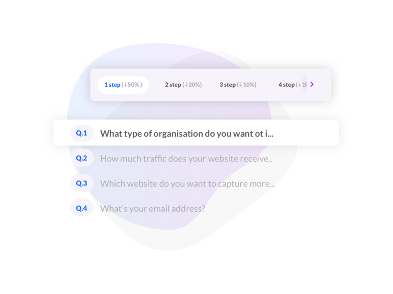 Question and step tracking table process vector design icon form flat illustration web ui