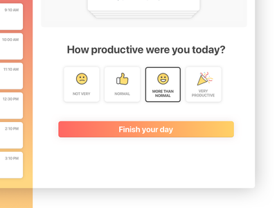 Day Debrief with emotion sereneapp process form ux vector design icons gradient illustration ui web