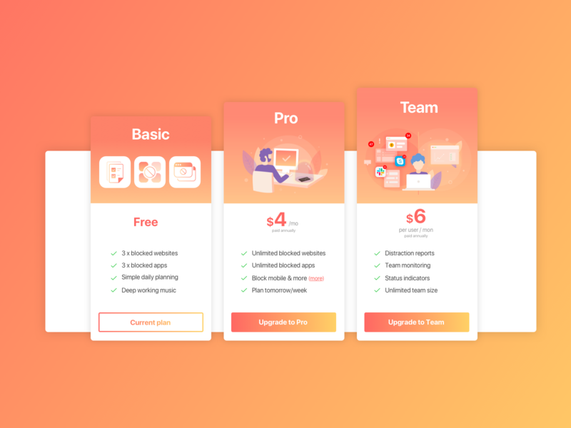 Plans sereneapp product design website branding vector design icons gradient flat illustration web ui