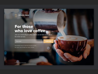 Newsletter subscription page typography ui minimal email capture coffee