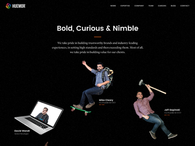 Team Page development design surreal space ux ui agency