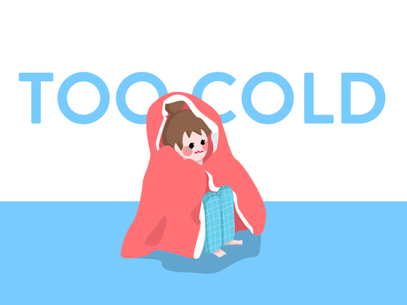 Cold! isometric freezing blanket girl character cold