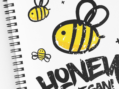 Bee Spiral Notebooks cute bee quote type vegetarian humor sweet honey vegan concept typography graphic design