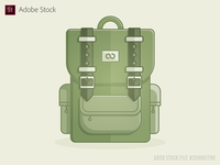 Travel backpack Icon Flat Design front view