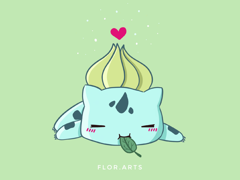 Bulbasaur shot cute pokemon illustration