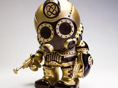 Gold Cog custom urban vinyl rivals cog gold paint revolver toy