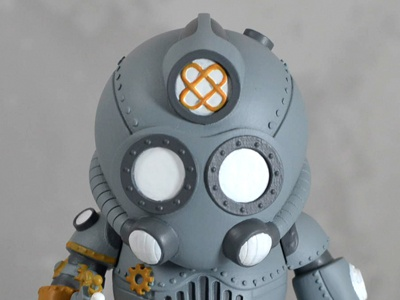 Cog Painted Prototype prototype urban vinyl toy steampunk cog mould rivals nautical diver mask
