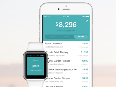 The Gumroad Dashboard App gumroad clean ios minimal apple mobile app iwatch iphone