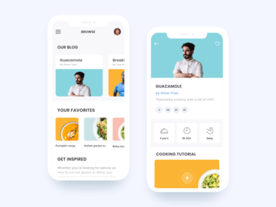 Recipe App - Dribbble Debut mobile app recipe app mobile clean ios cooking chef recipes ux ui minimalism flat