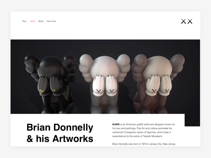 KAWS — About (Header) companion kaws personal website figure figures figurine art object toy portfolio interior toy