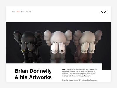 KAWS — About (Header) companion kaws personal website figure figures figurine art object toy portfolio interior toy