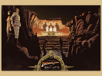 Indiana Jones and the Raiders of the Lost Ark mountains typography lettering ark egypt indiana film illustration desert landscape