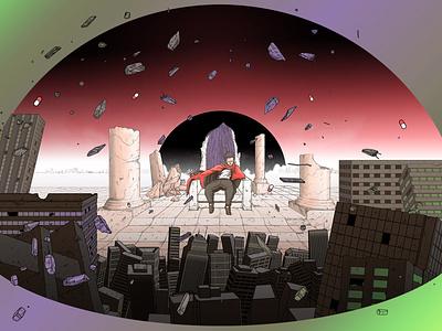 Tetsuo s Throne cyberpunk nft poster fantasy otomo tokyo building akira moebius city colorful sci-fi