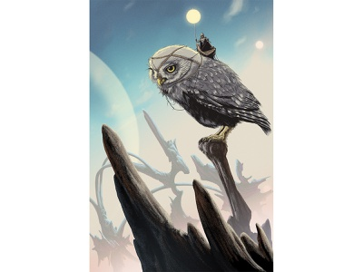 The Solar Rider character animal owl soy sky landscape roger dean fantasy sci-fi moebius