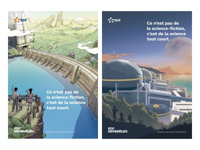 EDF moebius river lake bridge nuclear energy power plant clouds sky colorful landscape sci-fi