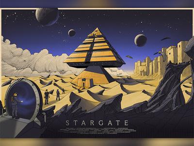 Stargate city clouds world portal militars mountains desert moon pyramid space sci-fi stargate