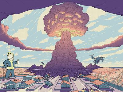 Fallout 4 mountains landscape city mondo sky explosion nuclear bomb game fallout