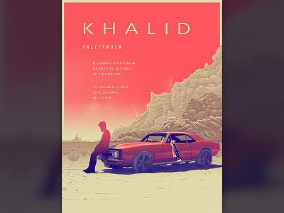 Khalid - Gig poster flag desert clouds car gig poster khalid