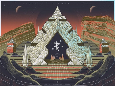 Pretty Lights - Red rocks gem crystal temple mountains space pyramid pretty lights
