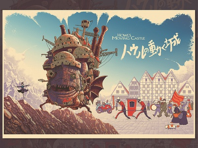 Howl's Moving Castle - Regular anime animation mountain people city village clouds castle howl ghibli miyazaki