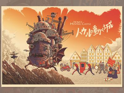 Howl's Moving Castle - Variant screen print village people mountain anime animation miyazaki ghibli sky howl