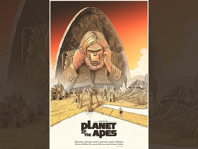 Planet of the Apes chair path lake clouds monkey village city film screen print apes planet