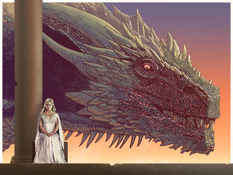Drogon girl got queen throne dragon gameof thrones
