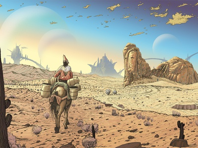 The Trafficker colorful mountains illustration clouds sky surreal sci-fi desert landscape