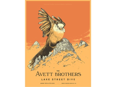 The Avett Brothers illustration sun poster colorful sci-fi clouds sky landscape mountains bird gig poster screen print