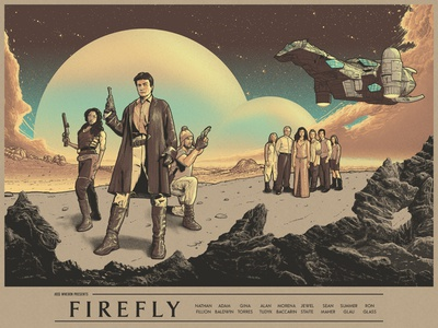 Firefly flat landscape clouds desert sci-fi characters spaceship ship