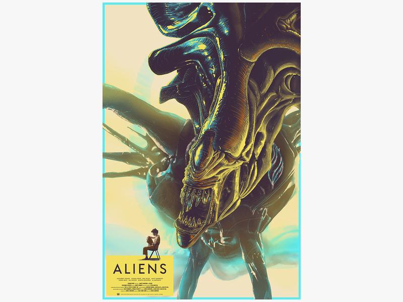 Aliens illustration sci-fi film screenprint poster chair character girl monster foil aliens