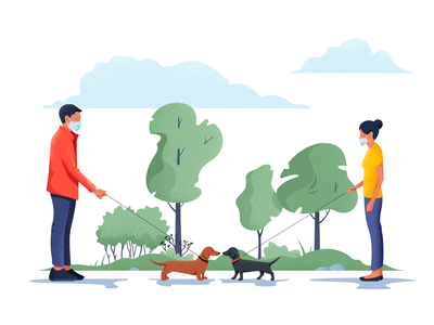 Keep your distance quarantine coronavirus stroll dogs landscape vector colors character material noise illustration