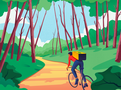 Delivery Man delivery service cyclist courier delivery wood light editorial landscape vector colors character illustration
