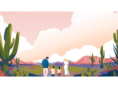 Arizona desert nature family adobeillustator desert arizona noise landscape vector colors illustration
